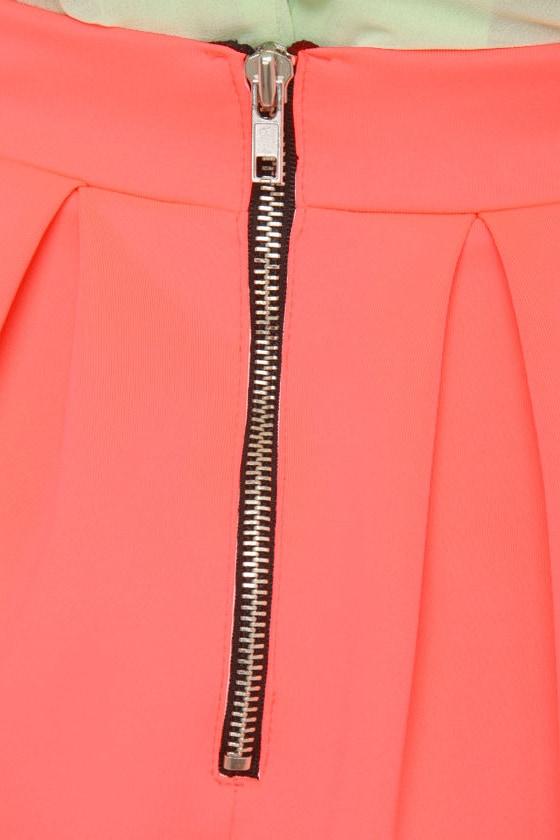 Everything Illuminated Neon Coral Skirt