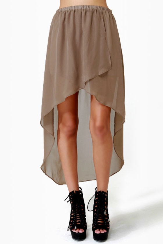 Fall for It High-Low Brown Skirt