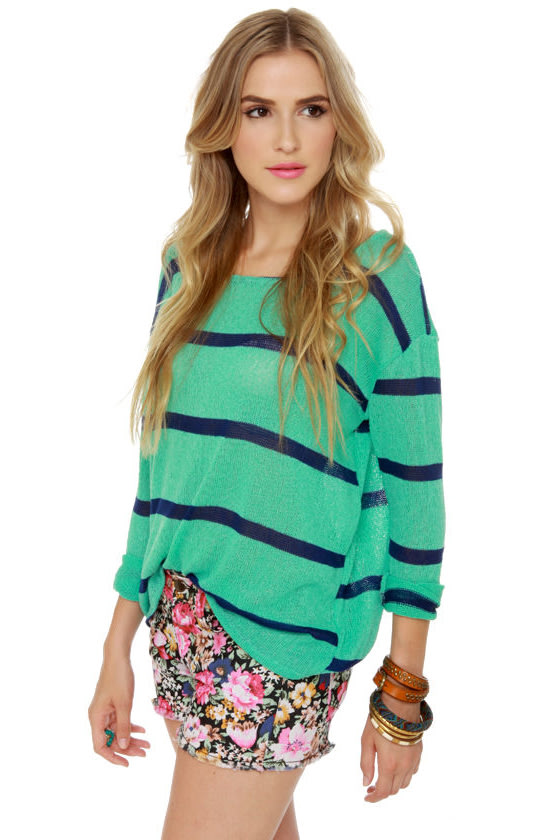 Believe the Hype Striped Mint Green Sweater