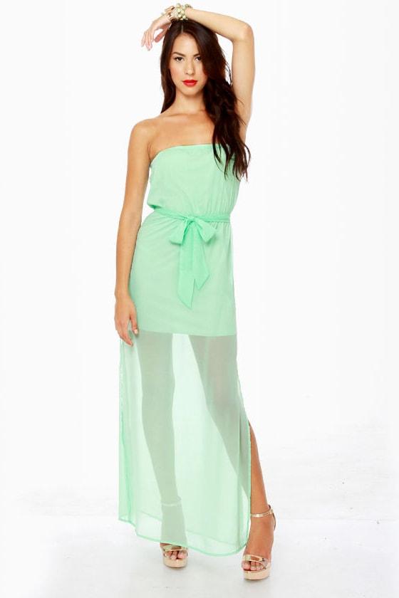 Girls Just Wanna Have Chiffon Strapless Mint Maxi Dress