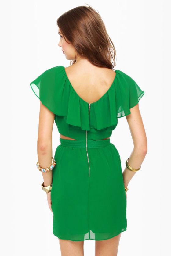 Ruffle, Shuffle, and Roll Green Dress
