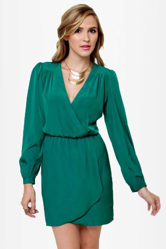 Cute Green Dress - Wrap Dress - Long Sleeve Dress - $49.00