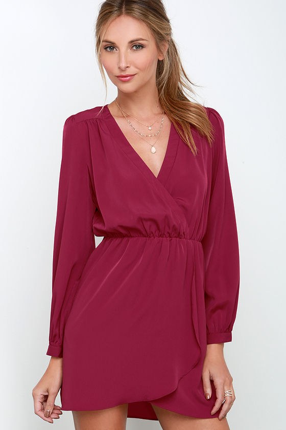 cute burgundy dress wrap dress plum dress long
