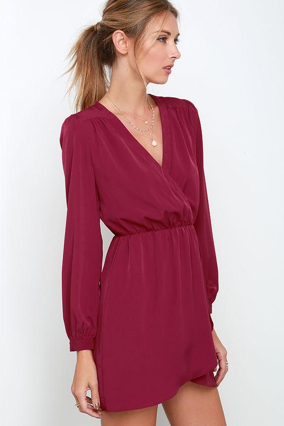 That\\\\\\\'s a Wrap Plum Long Sleeve Dress