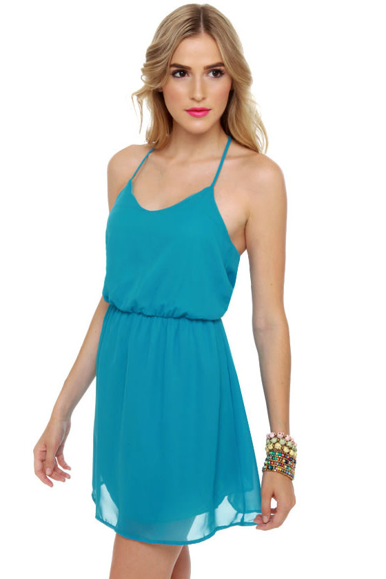 Post Up at the Poolside Aqua Blue Dress at Lulus.com!