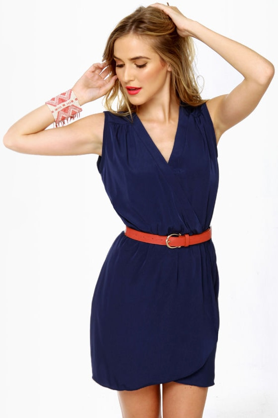 Mind the Wrap Sleeveless Navy Blue Dress