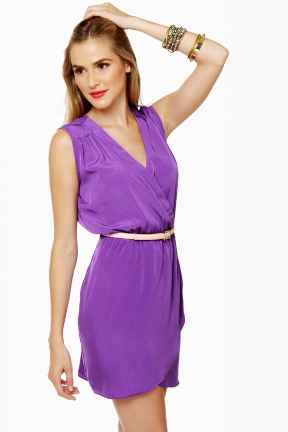 Mind the Wrap Sleeveless Purple Dress