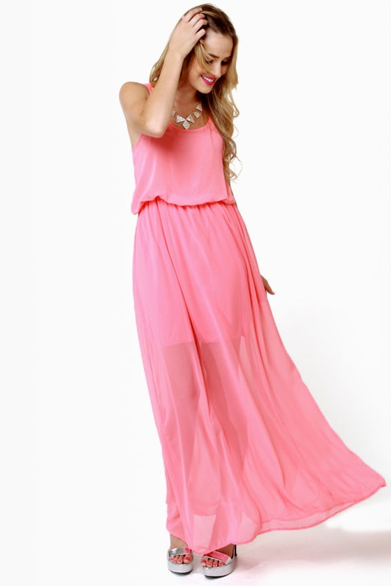 Mount Olympus Coral Pink Maxi Dress at Lulus.com!