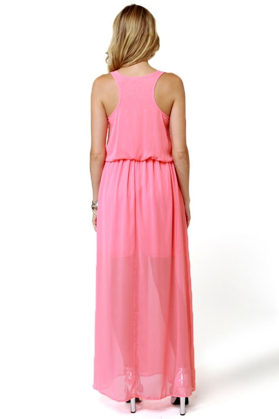 Mount Olympus Coral Pink Maxi Dress