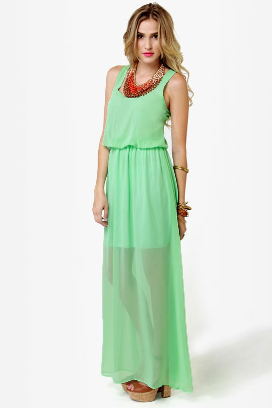 Mount Olympus Mint Green Maxi Dress
