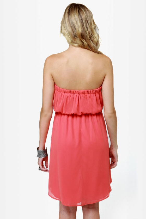 Human Nature Strapless Coral Dress