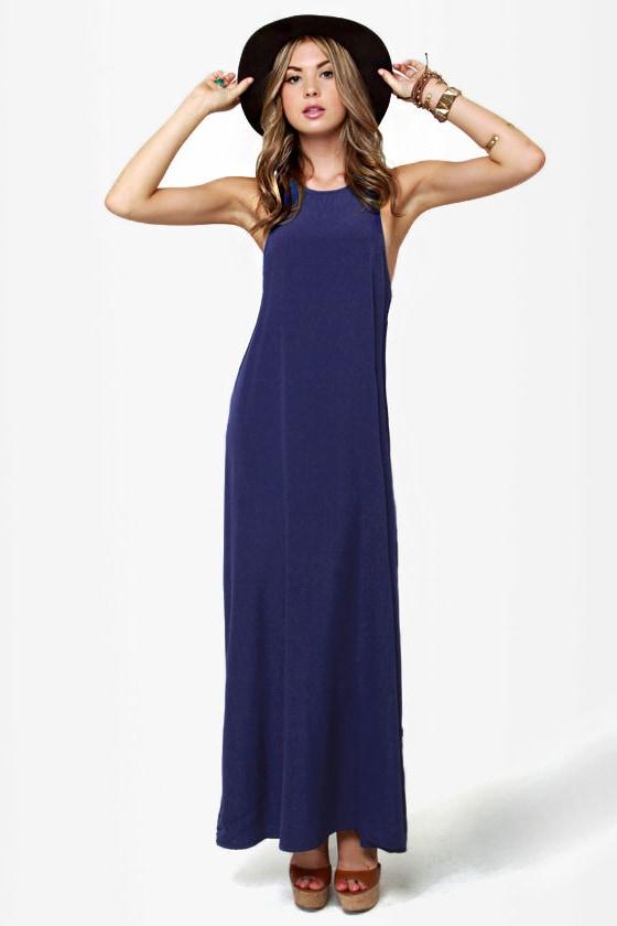 Give 'em the Slip Navy Blue Maxi Dress