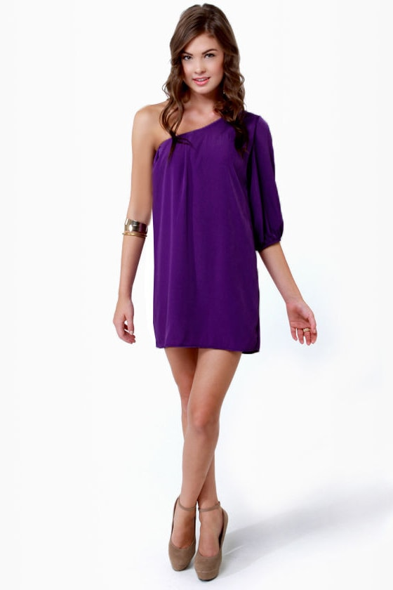 B-Sides One Shoulder Purple Dress at Lulus.com!