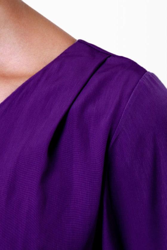 B-Sides One Shoulder Purple Dress