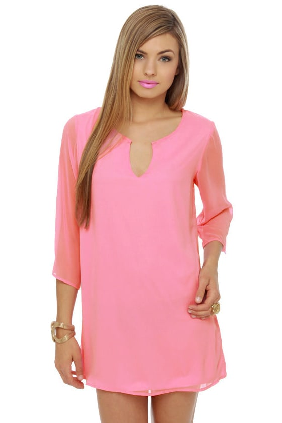 Cute Pink Dress - Shift Dress - Bright Pink Dress - $38.00