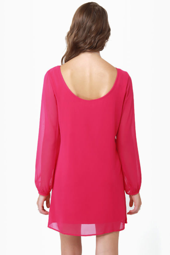Dinner for Two Fuchsia Shift Dress