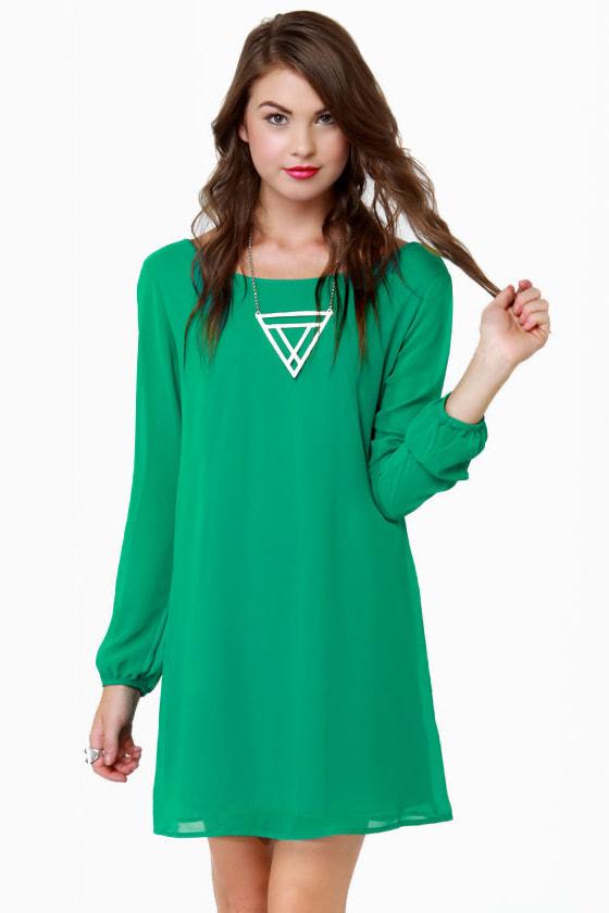 Beautiful Green Dress - Shift Dress - Kelly Green Dress - $40.00