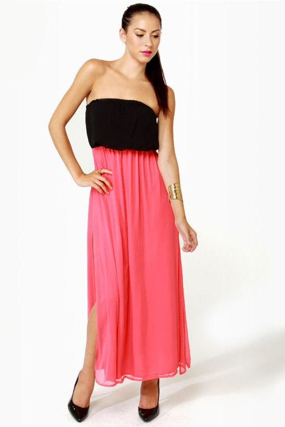 LULUS Exclusive Who\\\\\\\\\\\\\\\'s Who Black and Coral Maxi Dress