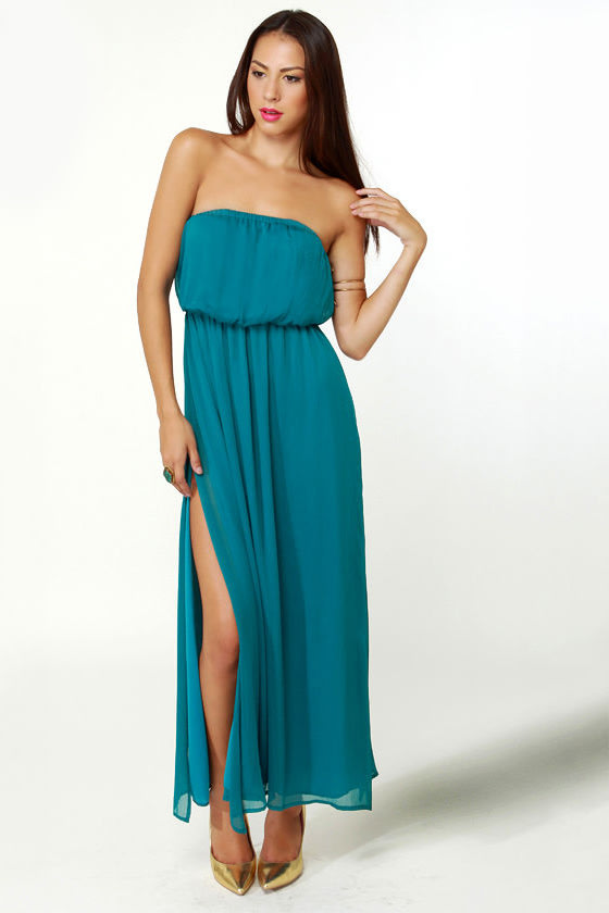 LULUS Exclusive Who\\\\\\\\\\\\\\\'s Who Teal Maxi Dress