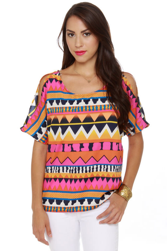 What a Blast Short Sleeve Print Top