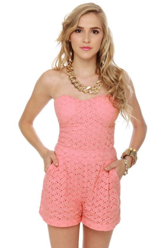 8edf00b0733d Cute Pink Romper - Lace Romper - Strapless Romper -  48.00