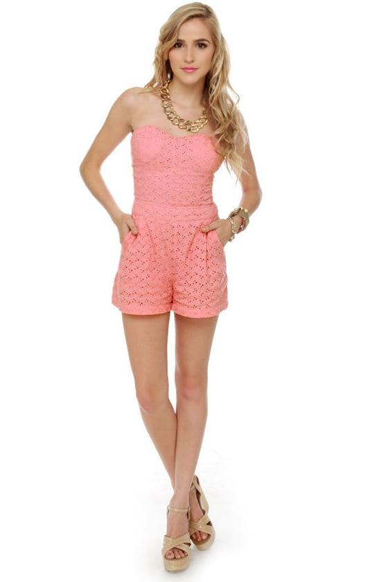 9205cc0f4bf Cute Pink Romper - Lace Romper - Strapless Romper -  48.00
