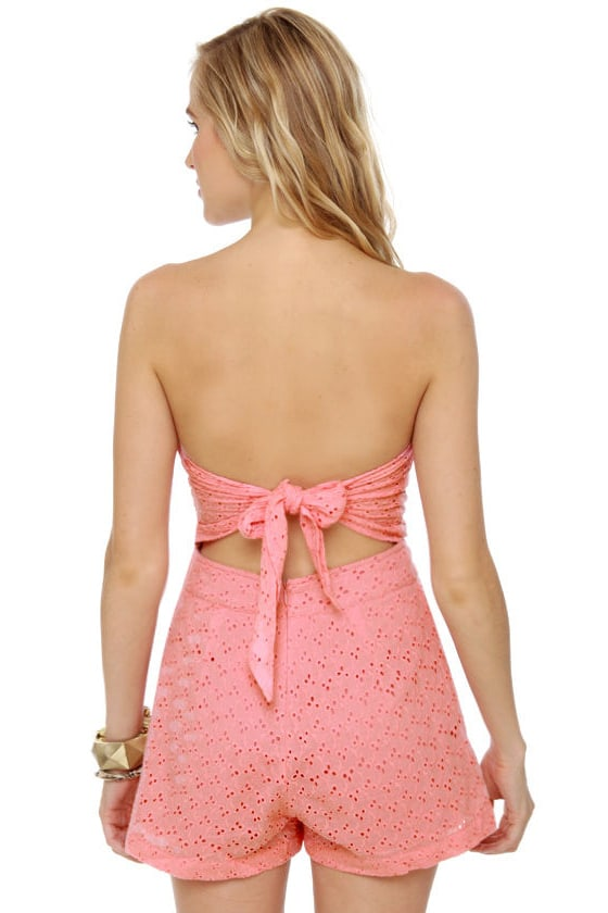 County Fair Pink Eyelet Lace Romper