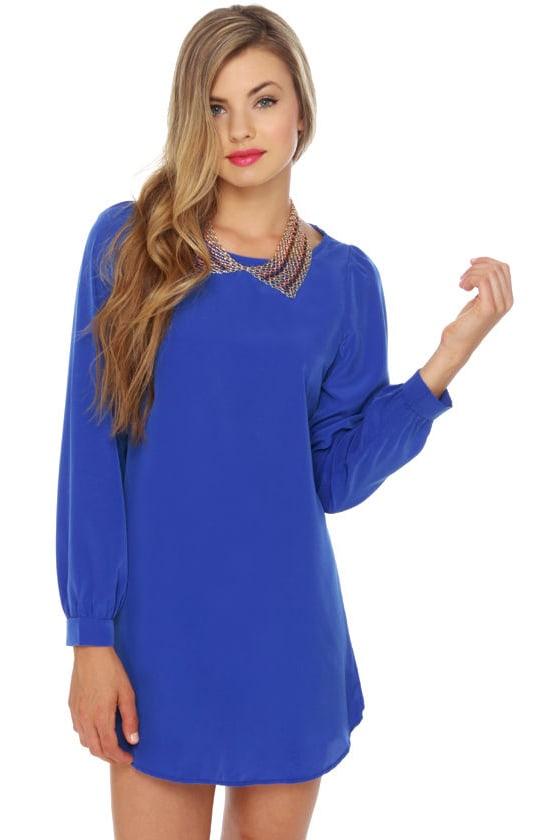 Cute Royal Blue Dress - Shift Dress - $35.00