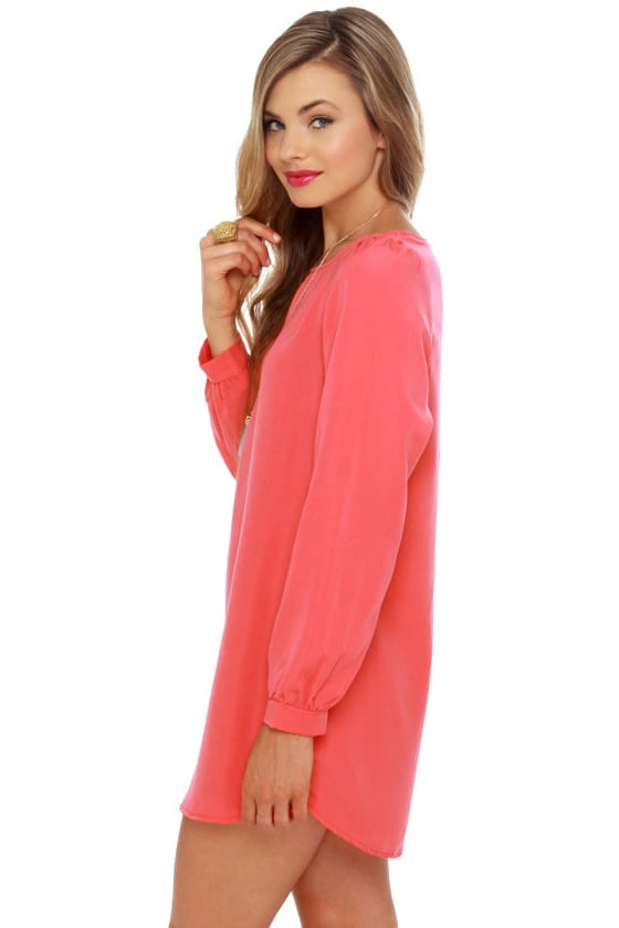 Cute Coral Dress - Shift Dress - Pink Dress - $35.00