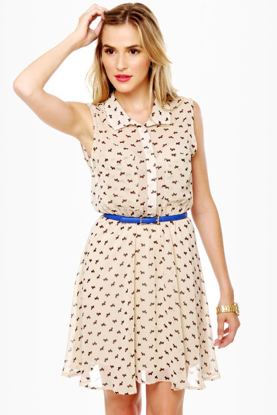 Everyone Loves a Terrier Cream Print Dress