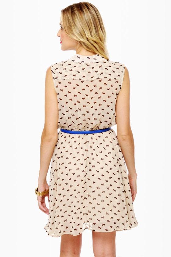 Everyone Loves a Terrier Cream Print Dress