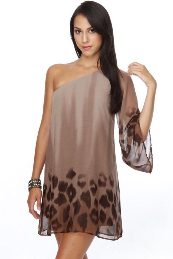 Sea Lion Saunter One Shoulder Mocha Print Dress