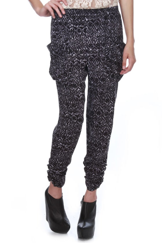 Moon Blinks Print Harem Pants