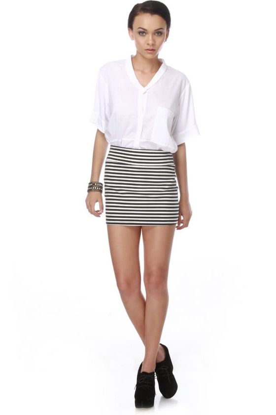 Beach Volleyball Striped Mini Skirt