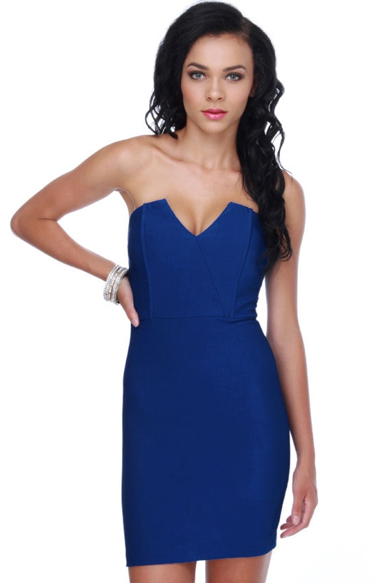 Sassy Blue Dress - Royal Blue Dress - Strapless Dress - $30.00