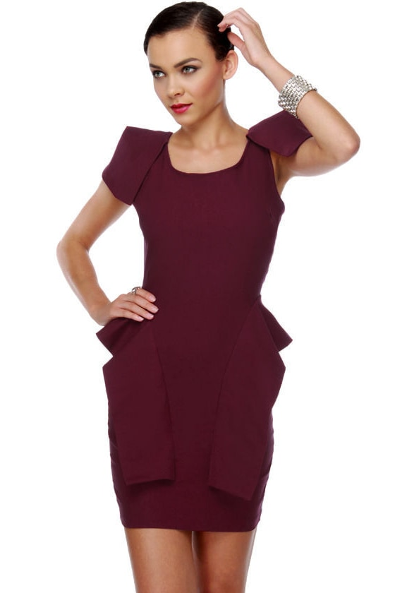 Cute Red Dress Burgundy Dress Peplum Dress Classy
