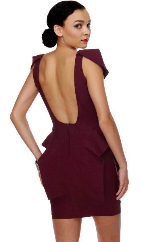 Peppy Peplums Burgundy Red Dress