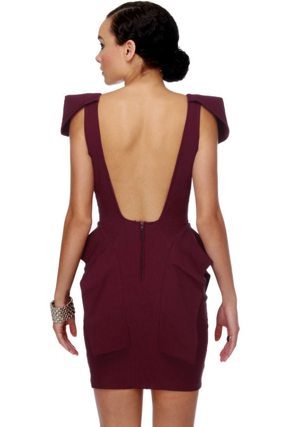 Peppy Peplums Burgundy Red Dress at Lulus.com!