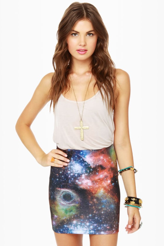 Miss Universe Print Mini Skirt