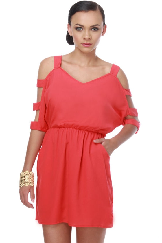 Thrills and Chills Coral Dress