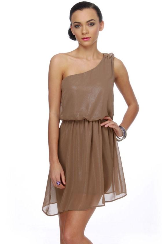 Milk Chocolate Magic One Shoulder Glitter Brown Dress