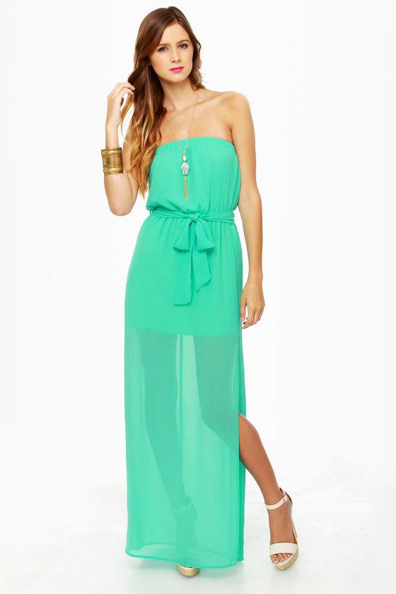 Cute Maxi Dress - Turquoise Dress - Strapless Dress - $41.00