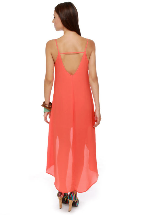 Point Break High-Low Coral Dress