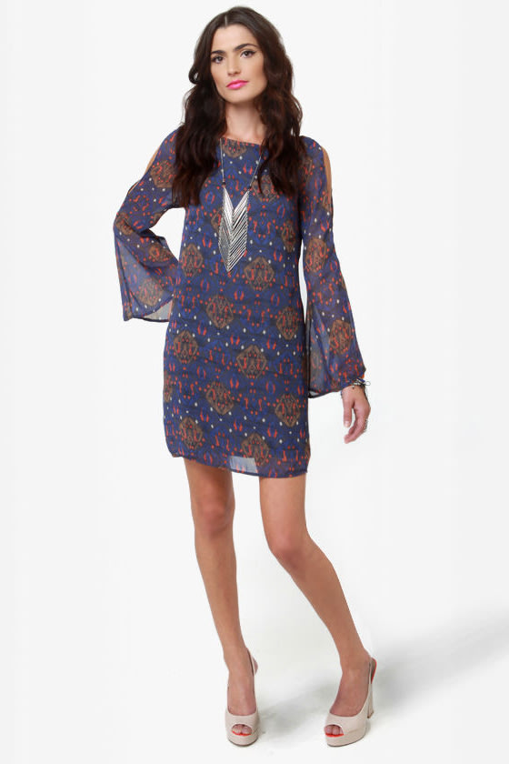 Tied and Wave Blue Print Dress at Lulus.com!