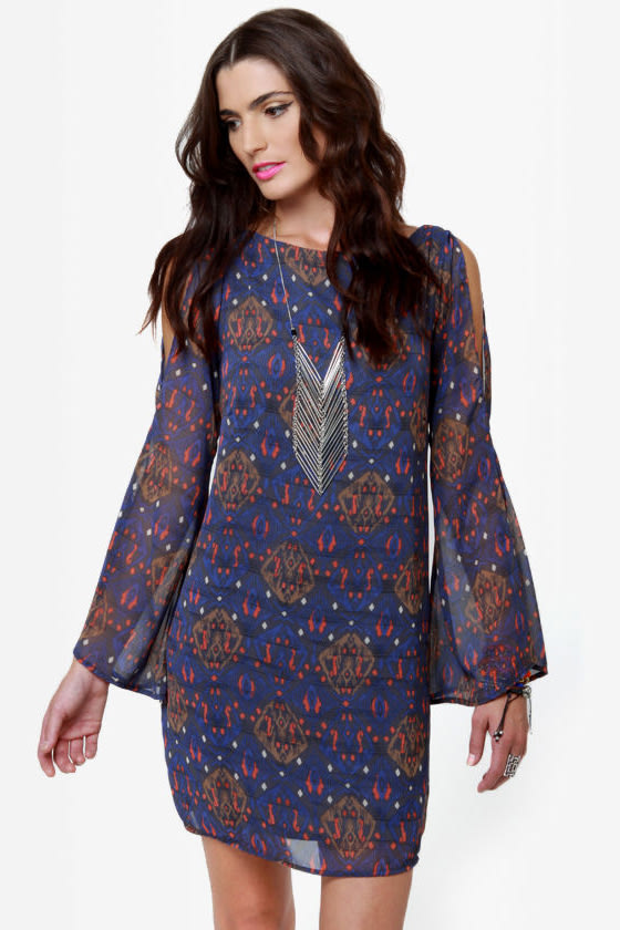 Tied and Wave Blue Print Dress