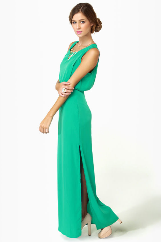 Whatchama-Column Teal Maxi Dress