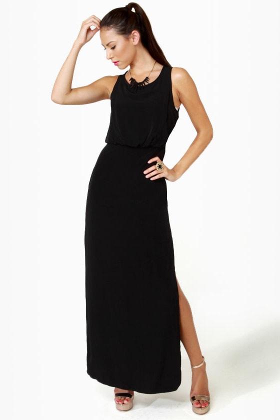 Whatchama-Column Black Maxi Dress