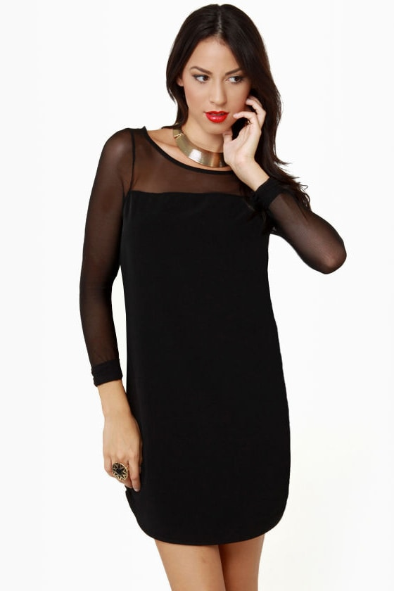 Sexy Shift Dress - Little Black Dress - Long Sleeve Dress - Mesh ...