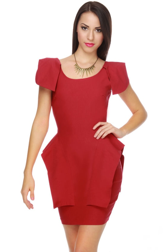 Peppy Peplums Scarlet Red Dress