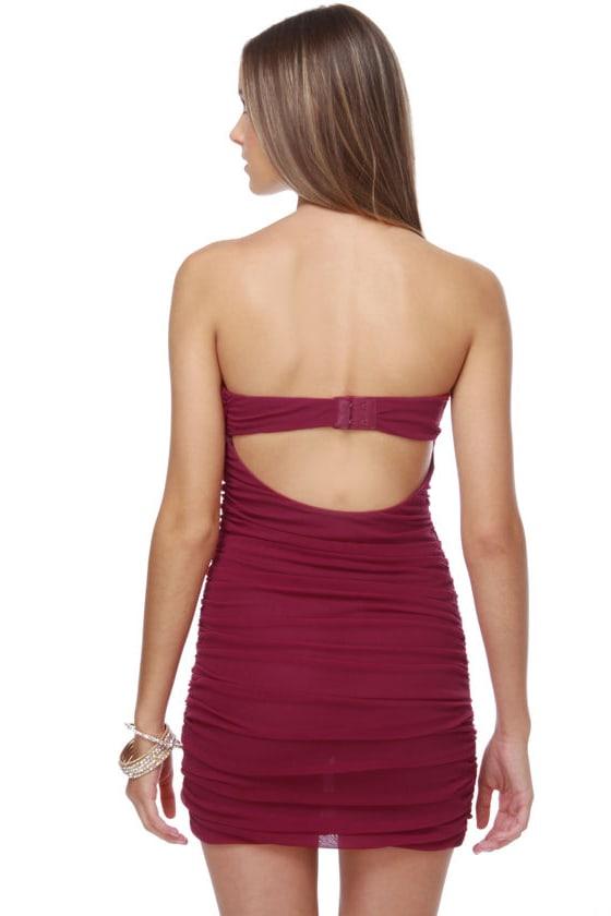Hot Stuff Strapless Maroon Dress